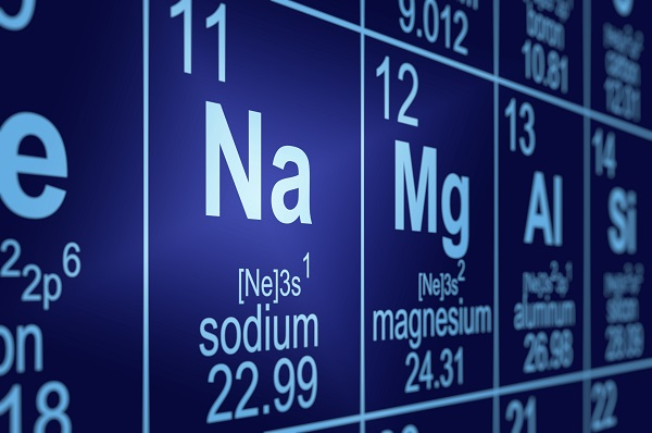 Detail of a partially blurred periodic table of the elements. Focus on sodium.